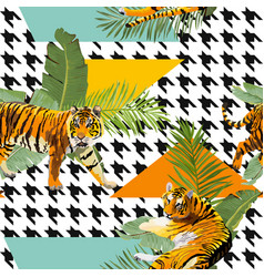 tigers flowers and palm leaves background vector image