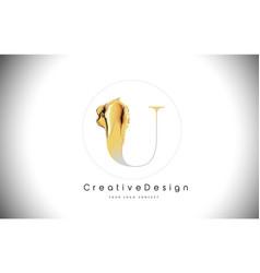 U golden letter design brush paint stroke gold vector