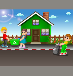 volunteer kids collecting trash at street of house vector image