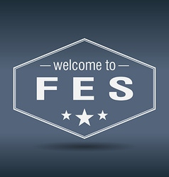 Welcome to fes hexagonal white vintage label vector