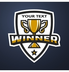 Winner Sports trophy emblem badge vector image