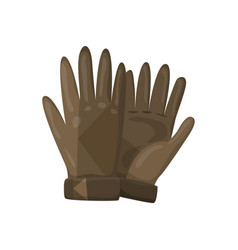 Winter gloves or leather mittens for men as vector