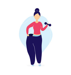 woman in oversized pants with dumbbells vector image