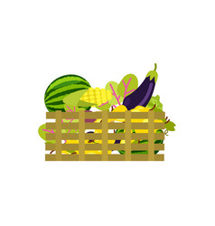Wooden box with fruits and vegetables icon vector