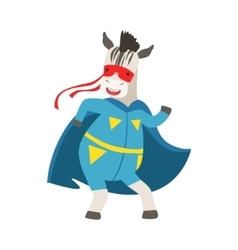 Zebra Animal Dressed As Superhero With A Cape vector