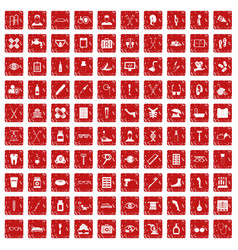 100 disabled healthcare icons set grunge red vector image vector image