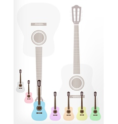 A Set of Colorful Classical Guitars Background vector image vector image