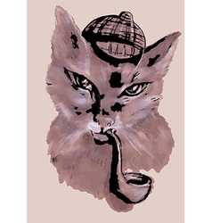 cat with tobacco pipe vector image