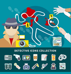 Detective icon set vector