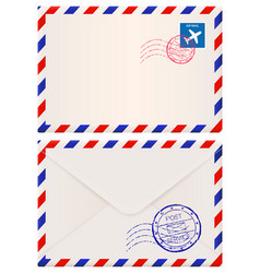 envelope international air mail with red and blue vector image