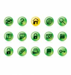 green website and internet icons vector image vector image