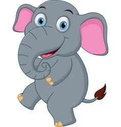 happy elephant cartoon dancing vector image