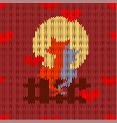 knitted woolen seamless pattern for valentines day vector image