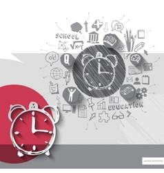Paper and hand drawn alarm clock emblem with icons vector image vector image