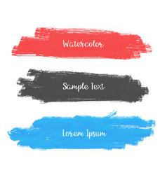 set of three watercolor stroke banner design vector image