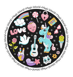 unicorn pop art comic style round card with stars vector image vector image
