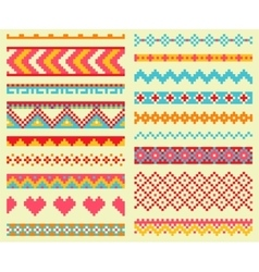 Collection of bright pixel brushes in tribal style vector image vector image