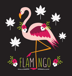 colorful exotic flamingo with flowers and leaves vector image