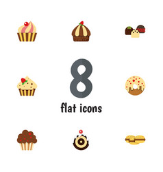 flat cake set of cake muffin cupcake and other vector image vector image