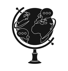 Globe of various languages icon in black style vector image vector image