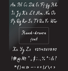 hand drawn chalk alphabet with numbers vector image vector image