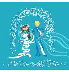 Just married couple and floral arch vector image vector image
