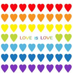 love is love rainbow heart set seamless pattern vector image vector image