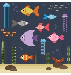 underwater world with fishes vector image