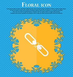 Broken connection flat single icon floral flat vector