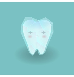 Cute sad hyper sensitive tooth is frozen by ice vector