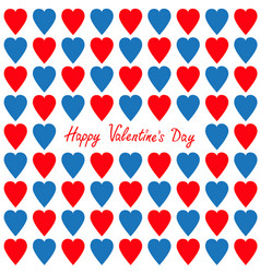 happy valentines day greeting card red and blue vector image