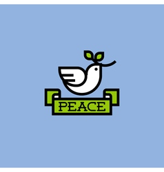 Peace dove with green branch vector image vector image