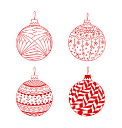set of red hand drawn christmas ball toy vector image