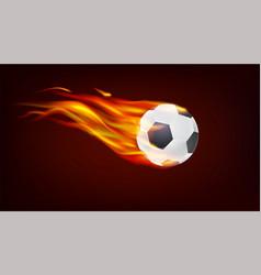 soccer european football ball on fire resizable vector image vector image