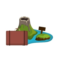 tropical island and suitcase icon vector image