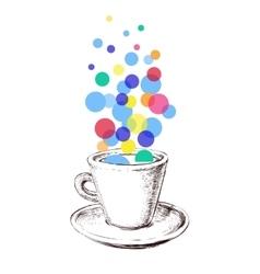Art Sketch Coffee Cup Bubbles Hand Drawn vector image