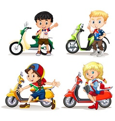 Boys and girls riding scooters vector image