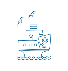 Cartoon ship with anchor and gull vector