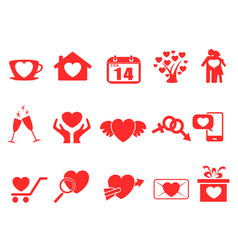 red valentine day icons set vector image vector image