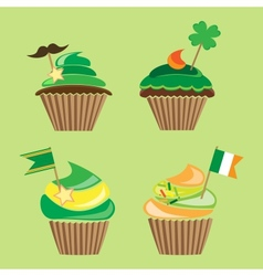 set of cupcakes for stpatricks day vector image