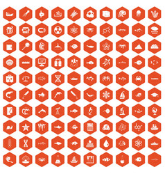 100 oceanology icons hexagon orange vector