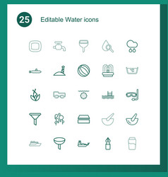 25 water icons vector