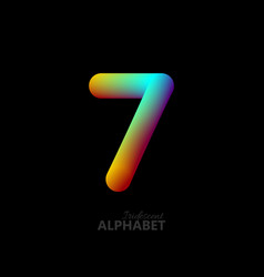 3d iridescent gradient number 7 vector