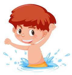 A ginger boy playing in water vector