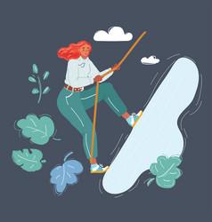 A women climb on rock background vector
