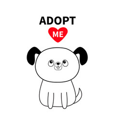 Adopt me dont buy contour sitting dog silhouette vector