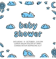 Baby shower template with cute sleeping vector image
