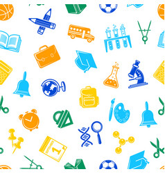 back to school stationery pattern vector image