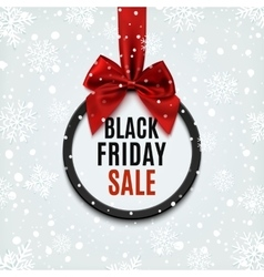 Black Friday round banner with red ribbon vector