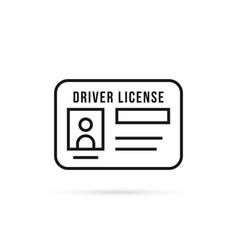 black thin line driver license icon vector image
